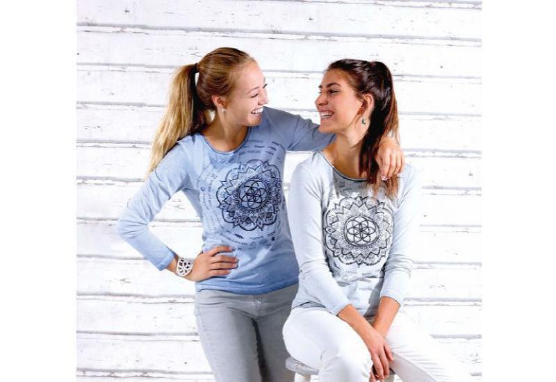 Langarm-Shirt Motivation jeansblau