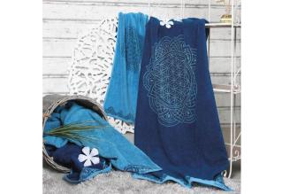 Frotteetücher Happy Flower of Life Ozeanblau/Azur_