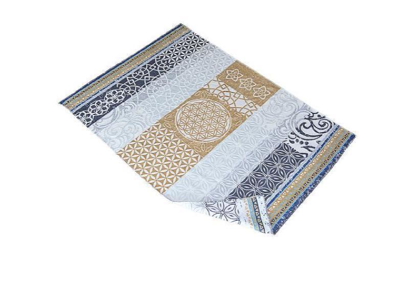 Plaid-Decke beige-grey-azur