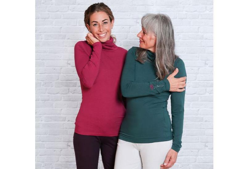 Rollkragen-Shirt rosenrot