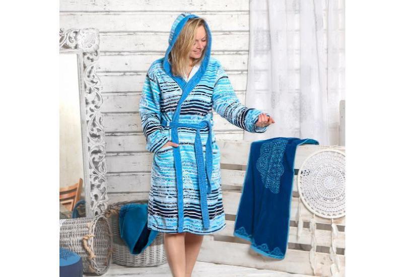 Damen-Bademantel Chakra caribic/ azur / blau