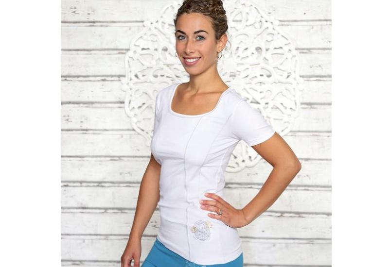 Yoga Shirt Lotus-Lebensblume weiß