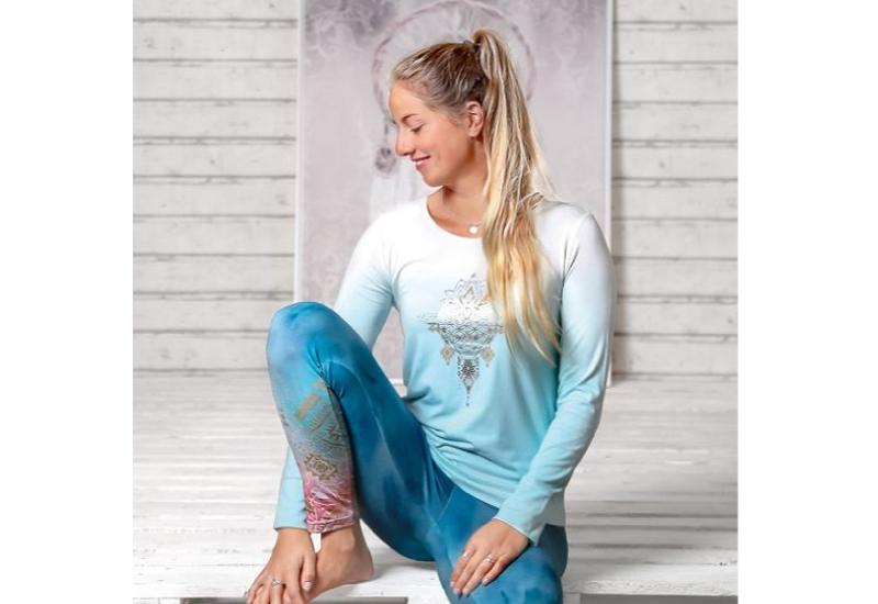 Langarm-Shirt Shakti Blue Breeze-Weiss