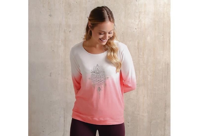 Langarm-Shirt Shakti flamingo/weiß