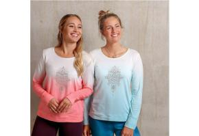 Langarm-Shirt Shakti flamingo/weiß- blue breeze weiss