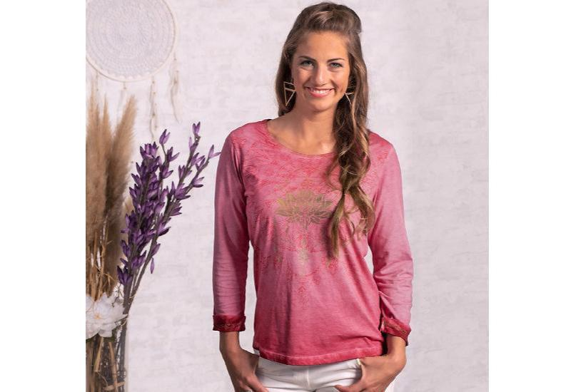Shirt Peaceful Lotus -3/4-Arm mit Spitze - pink-orchidee